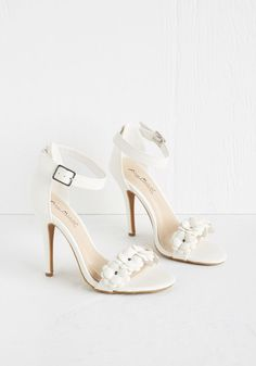 All Fleur You Heel in White, @ModCloth