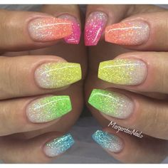 6 Color DIY Beauty Glitter Phosphor Glow Nail Art Fluorescent Luminous Neon Powder , for Nail Decorations Stammes Nagel Designs French Acrylic Nails, Summer Acrylic Nails, Best Acrylic Nails, Nail Summer, Nail Art Ideas For Summer, Summer French Nails, Acrylic Nails Coffin Glitter, Spring Summer, Summer Beach