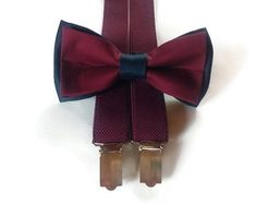burgundy wedding suspenders set of navy burgundy double colored bow tie and elastic suspenders ring bearer outfits