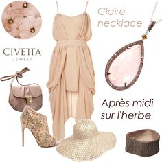 Ton sur ton for a fresh but #elegant outdoor #outfit.  Tips for making it unforgettable: pink quartz Daisy #necklace - available in our web store: http://www.civettajewels.it/store/en/home/141-silver-pendant-necklace-with-rose-quartz-.html#  #Jewelry #Art #Accessories #MadeInItaly