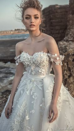 danny mizrachi 2018 bridal off the shoulder sweetheart neckline heavily embellished bodice romantic princess ball gown wedding dress (23) mv -- Dany Mizrachi 2018 Wedding Dresses