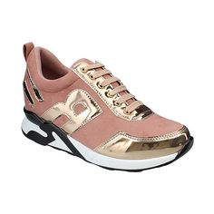 moca Rose & Gold Patent-Trim Running Shoe ($20) ❤ liked on Polyvore featuring shoes, athletic shoes, jogging shoes, color block shoes, block shoes, athletic running shoes and block high heel shoes