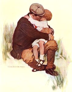 hugging Papa - Vintage child