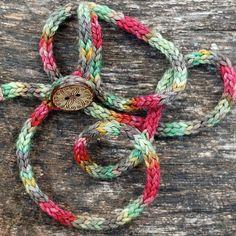 Wrap Bracelet - Rustic I Cord - Button Closure - Hand Dyed Merino Wool Yarn