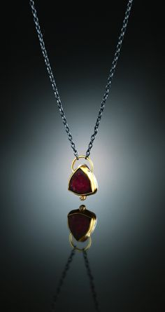 Watermelon Tourmaline Slice & Cognac Diamond Necklace. Fabricated Sterling Silver & 18k. www.amybuettner.com