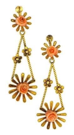 Victorian Carved Coral Drop Earrings, from Doyle & Doyle