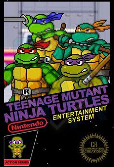 TMNT Poster Pixel Art Print Ninja Turtles Poster por CRGameMasters