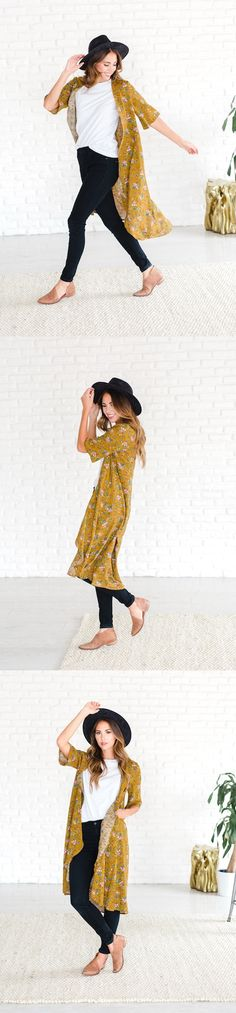 $24.99 - Soft and flowy, this mustard kimono will complete your look. Add a splash of color to your outfit without adding bulk. This floral kimono will add texture and style effortlessly to any outfit.