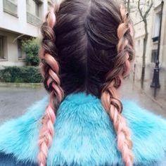 Plaited #braids #frenchbraids #pinkhair