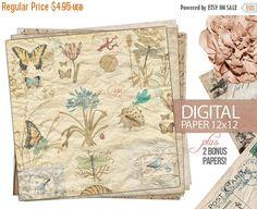 40% OFF SALE Digital Paper  12x12 Scrapbook by DIYVintageArt