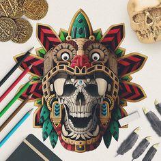 A total Collection of Beautiful Arts works, Paints, Art, Anime and Wallpapers. Mayan Tattoos, Mexican Art Tattoos, Polynesian Tattoos, Tatuagem Azteca, Quetzalcoatl Tattoo, Caveira Mexicana Tattoo, Shoulder Armor Tattoo, Aztecas Art, Azteca Tattoo