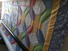 """Longarm Quilted, Lots of Ruler work on this 30's repo quilt, but well worth it. <3 the curved Cross Hatching I did in the center of the """"sunflowers."""""""