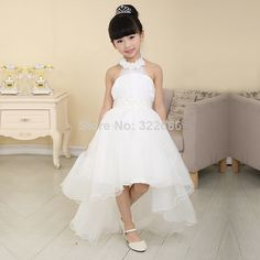 2014 High Quality Bridal Flower Girl Dress party Evening Children's White Long Trailing Dress Princess US $89.99