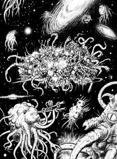 Azathoth (Artist's depiction of Azathoth). Azathoth: is a deity in the Cthulhu Mythos and Dream Cycle stories of H. Lovecraft and other authors. Hp Lovecraft, Lovecraft Cthulhu, Yog Sothoth, Call Of Cthulhu Rpg, Lovecraftian Horror, Eldritch Horror, Arte Horror, Dark Art, Fantasy Art