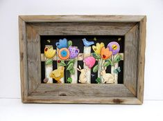 Barn Wood Framed Tulip Garden Scene, White Picket Fence, Birds, Bunnies,Chick,Flowers,Garden Fence,Hand or Tole Painted,Reclaimed Barn Wood