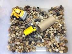 Pre-K theme construction site: river rock sensory bin Games For Toddlers, Fun Activities For Kids, Sensory Activities, Sensory Tubs, Sensory Play, Sensory Bottles, Dramatic Play Themes, Montessori Trays, Transportation Theme