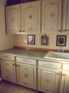 Crowned Acanthus With Ornate Corners On Kitchen Cabinet