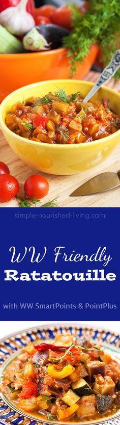 WW Friendly Ratatouille - a sensational side dish for chicken or fish, a tasty topping for toasted bread, pasta or polenta, and a fabulous filling for omelets and crepes. Or try it as a base for poaching eggs. *3 Weight Watchers PointsPlus, *1 SmartPoint per serving - Simple-Nourished-Living.com