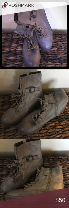 OTBT Brentsville boots gray leather 9.5 NEW! cute leather lace up boots with side zipper. New, never worn. No box. OTBT Shoes Combat & Moto Boots
