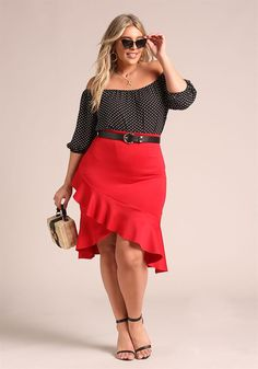 Plus Size Clothing | Plus Size Off Shoulder Polka Dot Blouse | Debshops