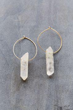 raw crystal hoop earrings
