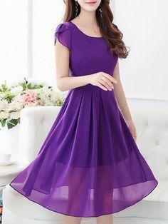 Fashionmia - Fashionmia Hollow Out Petal Sleeve Plain Chiffon Maxi Dress - AdoreWe.com