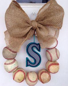 Seattle Mariners Burlap Baseball Wreath by NTgoodthings on Etsy More