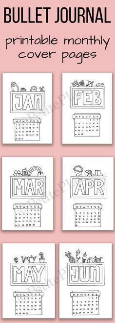 Cute printable cover pages for bullet journal! I like how they have a calendar for each month too. That's useful. Could also use them as covers in a school work file or similar. And you can color them in too! #ad #printable #bujo #bulletjournal #etsyfinds #calendar