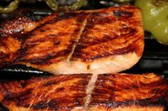 Image of pink, freshness – 1507455 Gri… Grilled Salmon Steaks stock image. Image of pink, freshness – 1507455 Grilled Salmon Steaks. Marinated and glazed grilled salmon steaks and peppers , Fish Steak Recipe, Steak Recipes, Grilling Recipes, Cooking Recipes, Healthy Recipes, Healthy Food, Healthy Eating, Grilling Ideas, Smoker Recipes