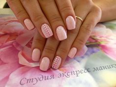 Beautiful nails 2016, Gentle summer nails, Glossy nails, Manicure by summer dress, Nails with rhinestones, Pale pink nails, Pink dress nails, Pink manicure ideas