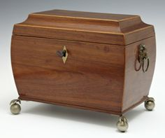 English Banded Rosewood Tea Caddy, c. 1850, with a : Lot 15