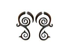 Spiral earrings Fake gauge earnings Tribal Wood by NELAJAPAN