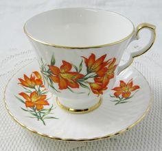 Royal Windsor Tea Cup and Saucer, Prairie Lily, Provincial Flower of Saskatchewan, Vintage Bone China, Souvenir Tea Cup