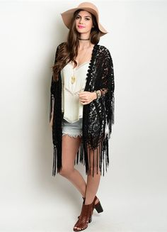 Black Gypsy Lace Kimono - This Black Gypsy Lace Kimono features gorgeous lace details all over, along with a fringe trim and shawl style open sides. This piece is perfect for festivals and can be paired with just about any outfit!  Made of Cotton & Polyester