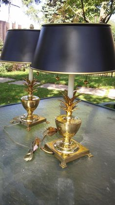 Brass Pineapple Design Lamps with Matching Tole Lamp Shades Hollywood Style Hollywood Style, Hollywood Fashion, Pineapple Design, Lamp Shades, Lamps, Mid Century, Table Lamp, Brass, House Styles