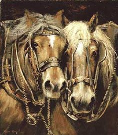 LEON ENGELEN Big Horses, Work Horses, Horses And Dogs, All The Pretty Horses, Beautiful Horses, Animals Beautiful, Farm Paintings, Animal Paintings, Cowboy Pictures