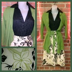 Ann Taylor brown white dot blouse 8 $7; East 5th olive ruffle cardigan M $10; H&M beige floral skirt 8 $10