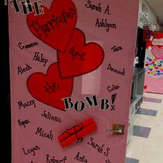 "My Valentine door for my classroom!        My students are the ""Hudnall Hurricanes""."