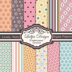 12 Lovely Retro Digital Papers. Great for invitations, gift tags, cards, tekxtile, package, scrapbooking, embellishments of invitations, papers guds etc. Format: 12JPG 12x12inch-300dpi