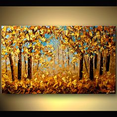 Canvas Art - Stretched, Embellished & Ready-to-Hang Print - Indian Summer - Art by Osnat Abstract and Modern Paintings - Osnat Fine Art The blue complementary color background makes this pop! Abstract art by Osnat Tzadok Modern landscape painting by the f Canvas Painting Landscape, Abstract Landscape, Abstract Art, Forest Painting, Autumn Art, Tree Art, Canvas Art Prints, Indian Summer, Golden Tree