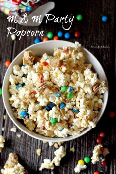It's always a party with this M & M Popcorn! With the milk chocolate candies, the corn chips, peanut butter cookies and white chocolate, this popcorn will be the life of the party!
