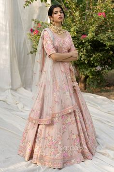 Buy Light Pink Raw Silk Floral Work Bridal Lehenga Choli @ the best price from saree.com by asopalav Pink Bridal Lehenga, Raw Silk Lehenga, Groom Outfit, Peach Colors, Indian Bridal, Clothes, Outfits, Dresses, Bride Groom