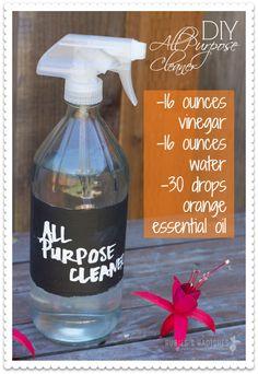 DIY All Purpose Cleaner - vinegar, water, orange essential oil