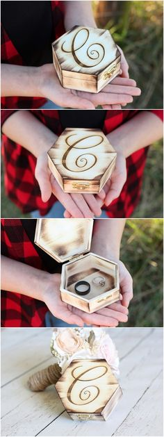 Rustic Ring Box Monogram Engraved Ring Box Wood Ring Box Rustic Wedding Ring Box DownInTheBoondocks