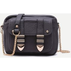 SheIn(sheinside) Grey Front Pocket Faux Leather Crossbody Chain Bag ($23) ❤ liked on Polyvore featuring bags, handbags, shoulder bags, shein, grey, vintage purses, chain crossbody, grey shoulder bag, grey purse and chain shoulder bag