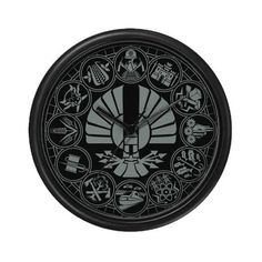 Panem Districts Hunger Games Wall Clock - $15 at Cafepress! http://www.cafepress.com/+panem_districts_hunger_games_wall_clock,621787414