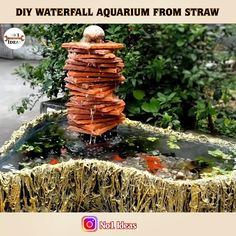 Homemade Waterfall, Diy Waterfall, Diy Garden Fountains, Diy Fountain, Diy Aquarium, Aquarium Design, Waterfall Decoration, Fish Tank Terrarium, Cement Crafts