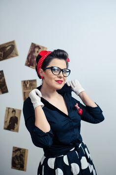 Pin-up style, pin-up girl:  dotted skirt, midi skirt, red shoes, red scarf, cat eye glasses