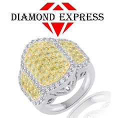 """2.79Ct Round Cut Yellow Sapphire & White Zircon 14K Gold Cluster Ring """"Mother\'s Day Gift"""". Starting at $89"""
