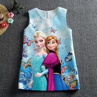 Hot 2016 Vestidos de Niña Vestidos de Impresión de La Mariposa de La Princesa Elsa Anna vestido de Partido Del Vestido Embroma la Ropa 3-10Y vestidos